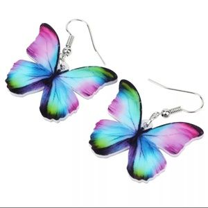 NEW Acrylic Earrings Colorful Butterfly Dangle